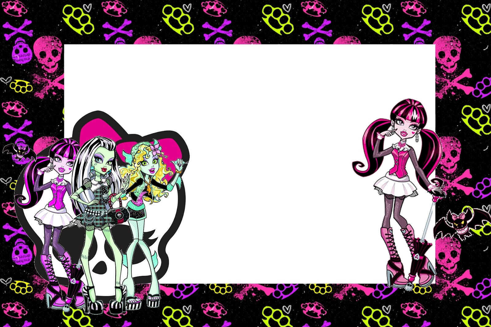 Clean image pertaining to free printable monster high invitations