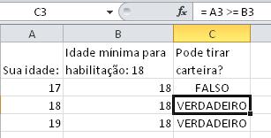 Operador de maior ou igual no Excel - Planilhas grátis