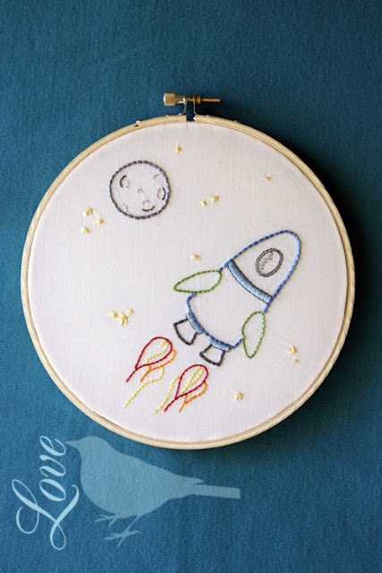 Love the blue bird outer space embroidery pattern for Space embroidery designs
