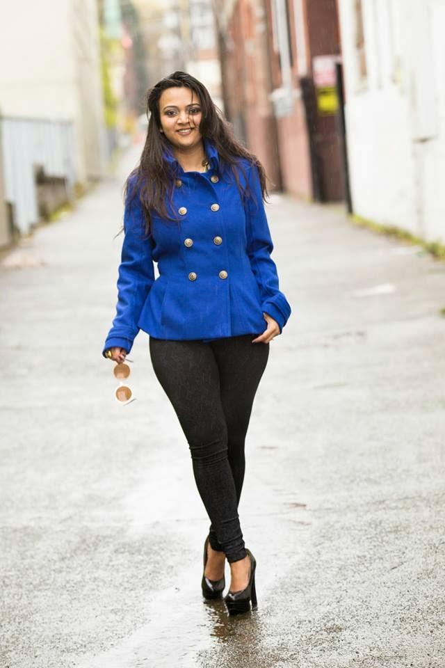 winter coats, blue sexy jacket, blue double breasted coat, ananya kiran, winter fashion, indian fashion blogger, beautiful indian girl