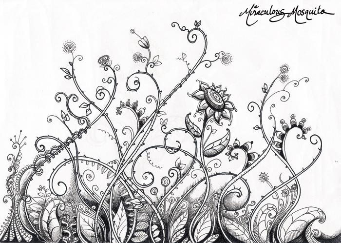 Line Drawing Garden : Garden gone wild