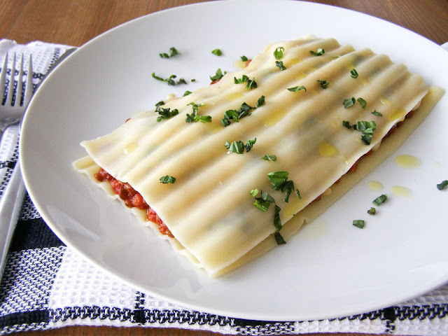 Puy Lentil, Portabello Mushroom and Baby Spinach Free Form Lasagna - vegan
