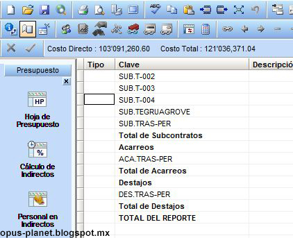 Error importar obra Opus 2010 a Opus Planet (Conceptos sin desglose)