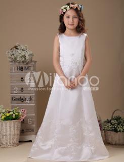 Blanc Longueur de fermeture Zip étage satin robe de première communion