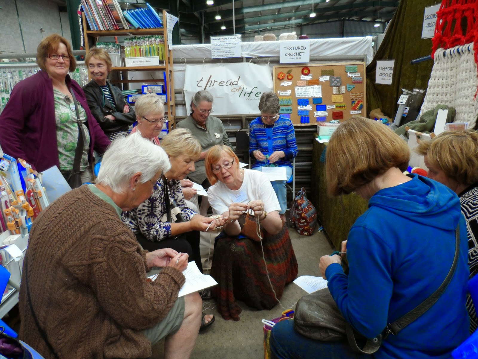 Woolfest 2014-Thread of Life teaching crochet.