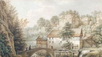 Christian Gottlob Hammer: Die Lochmühle im Liebethaler Grund. Aquarell 1857