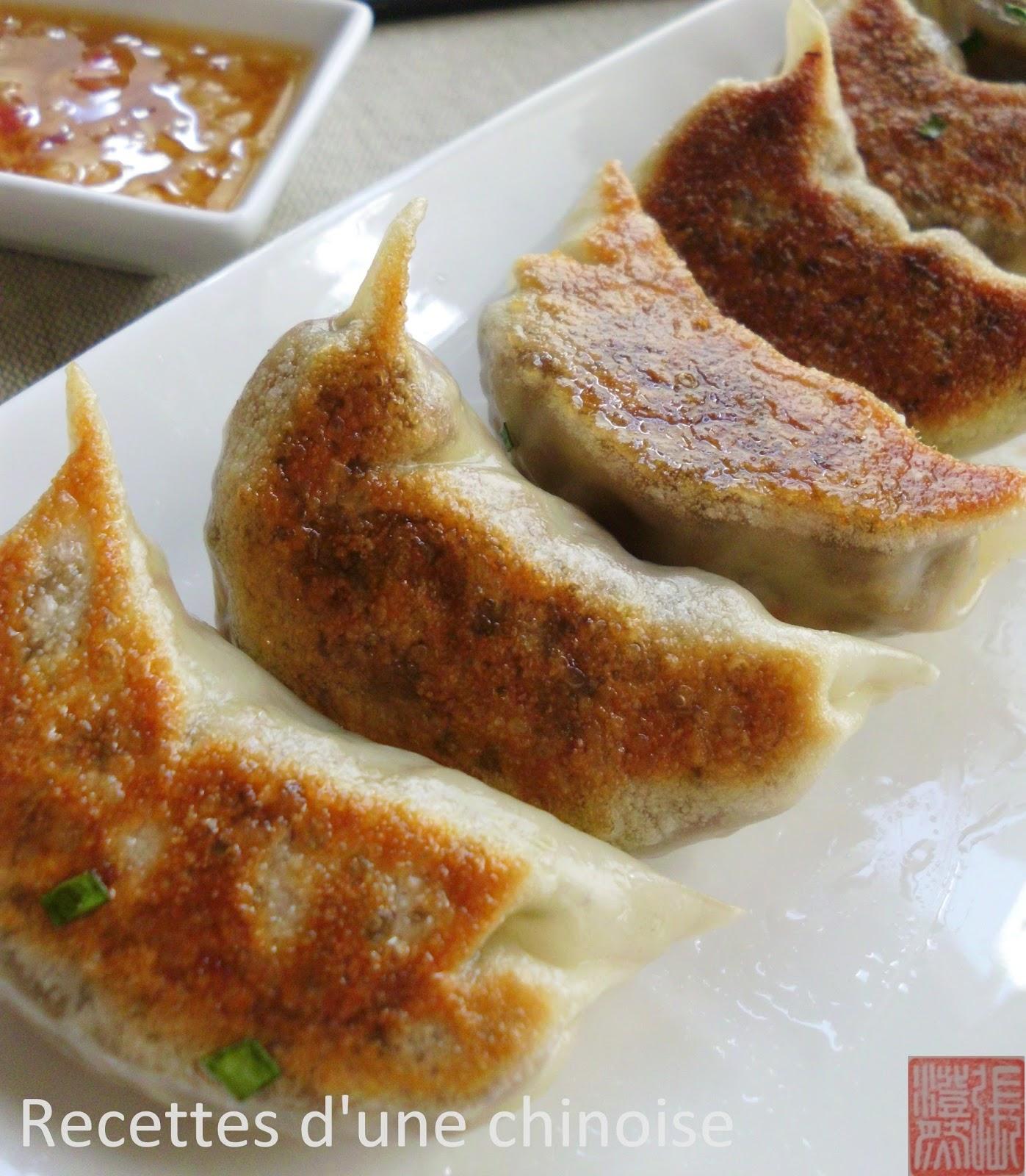 Recettes d 39 une chinoise raviolis grill ou gyoza au canard - Sauce pour crustaces grilles ...
