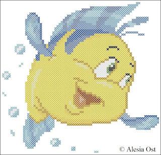Free cross-stitch patterns, Flounder, Disney, Ariel's Friend, fish, The Little Mermaid, cartoon, cross-stitch, back stitch, cross-stitch scheme, free pattern, x-stitchmagic.blogspot.it, вышивка крестиком, бесплатная схема, punto croce, schemi punto croce gratis, DMC, blocks, symbols