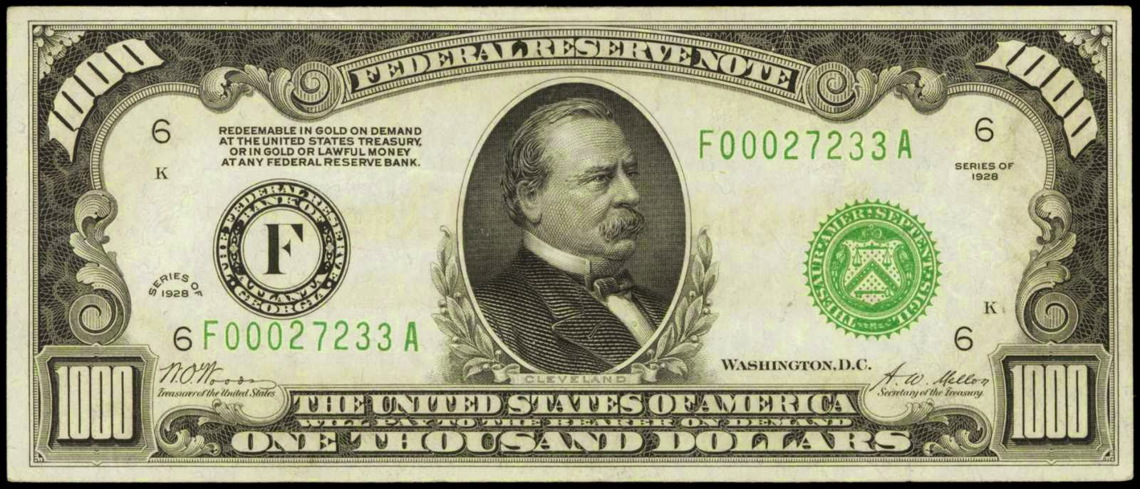 1000 Dollar Federal Reserve Note 1928