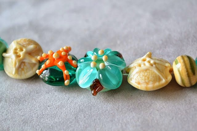 Beach Lampwork beads by Marianna Boylan