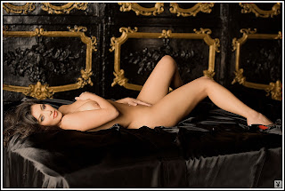 Kim Kardashian hot nude Playboy bed black satin touching self pics