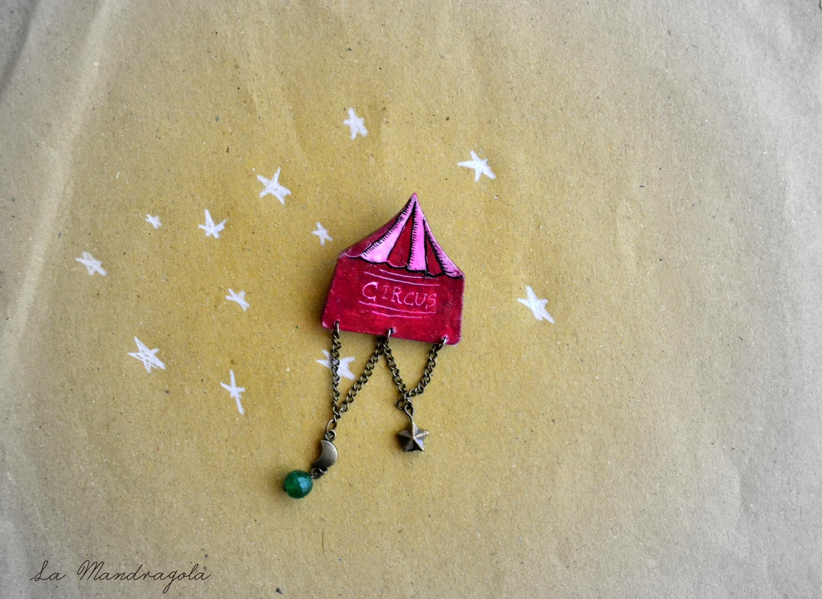 Night Circus  - freak show - brooch - la mandragola - Flavia Luglioli - illustration - victorian - etsy