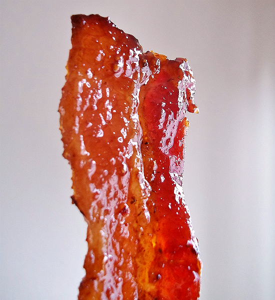 Southwest Chipotle Candied Bacon with Mrs. Dash. Combine 3 TBS Southwest Chipotle Mrs. Dash with 1/2 C Golden Brown Sugar and 1/2 Package of Thick Cut Bacon. Bake on a deep, lined baking dish at 350F for 20-25 minutes!