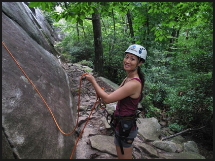 Sandra Chun climbing outdoors