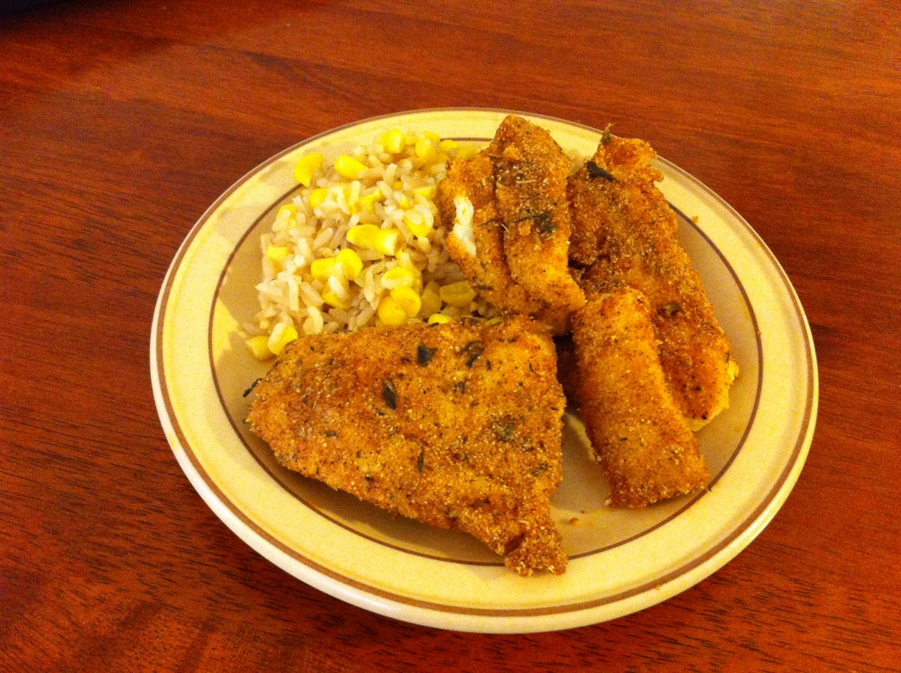cajun corn meal breaded chicken and fish