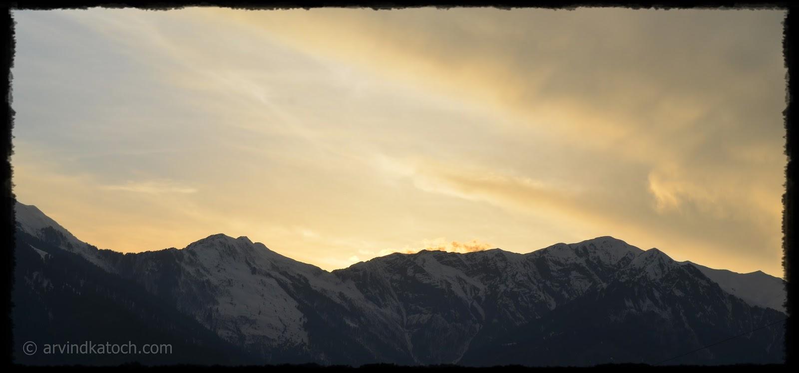Snow filled hills, snow, hills, clouds, Himachal Pradesh, Kullu