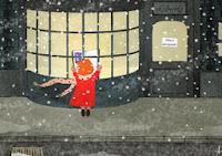 ilustración, librería, libro, Navidad
