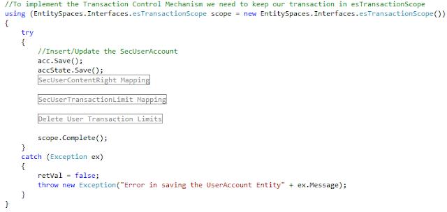 Microsoft EntitySpaces Transaction Control Mechanism