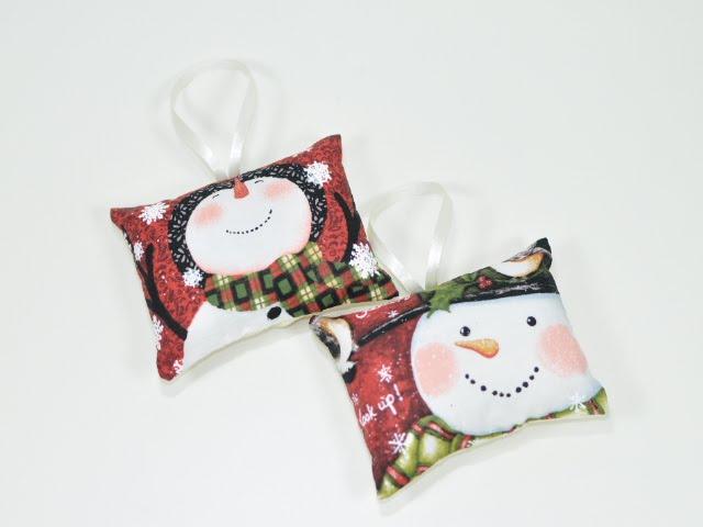 Almofadinhas de boneco de neve- enfeite árvore