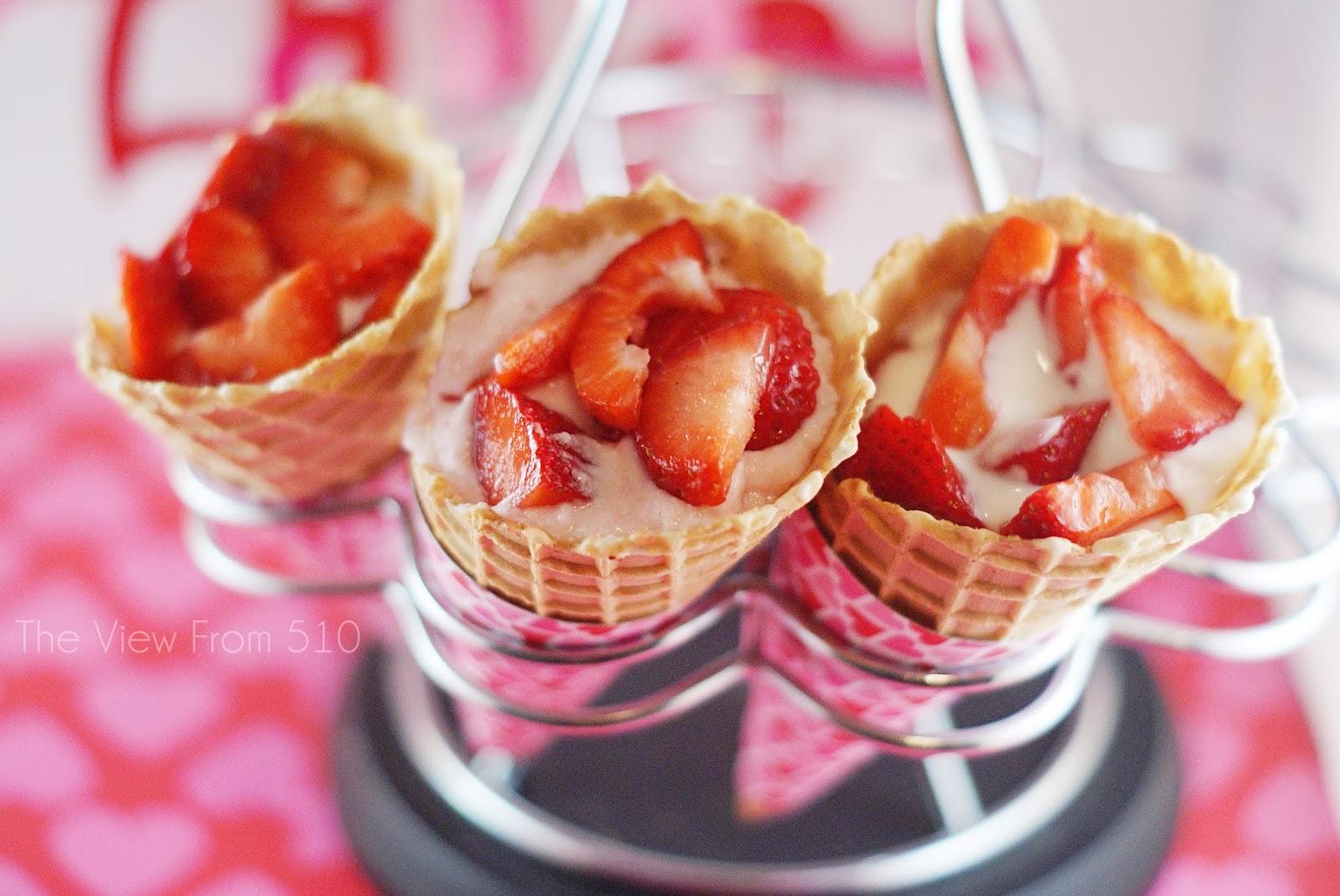 Strawberry Yogurt Cones #recipe #sponsored