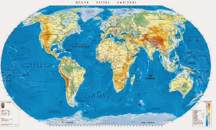 D�nya Fiziki Haritas� (B�y�k Boyutta)