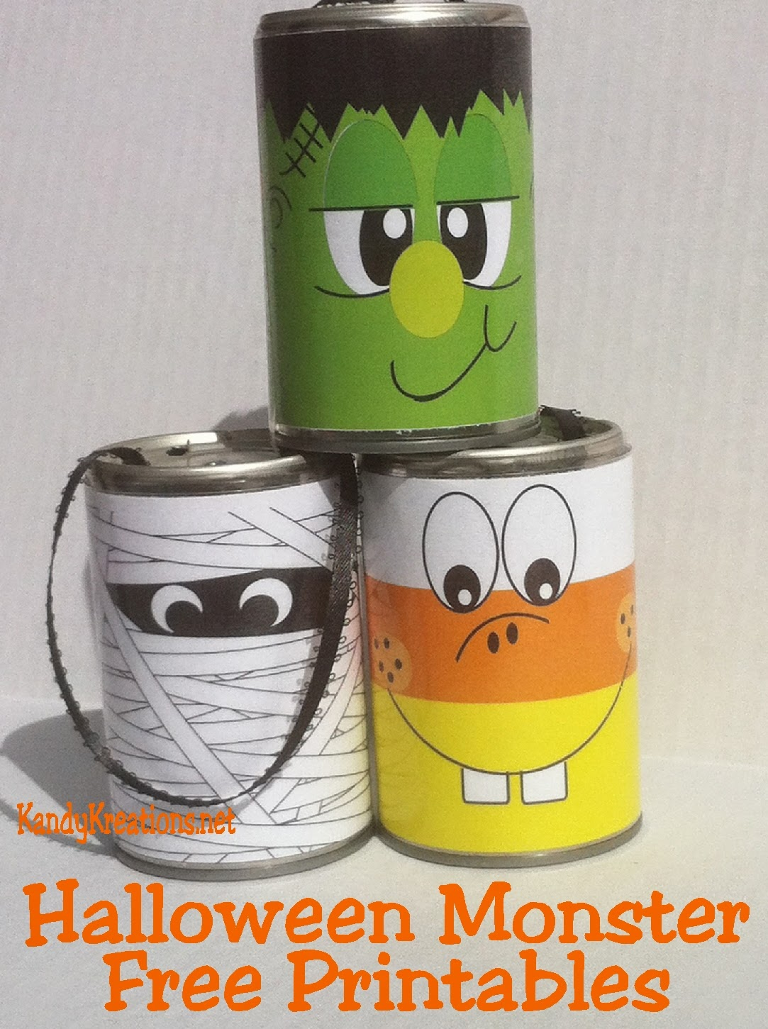 looking for easy halloween decorations how about these free printables halloween monsters using tin cans