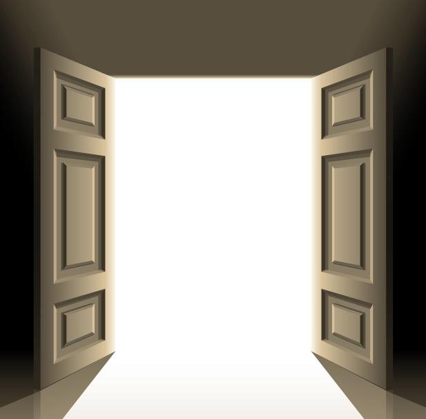 Open double doors clipart for Double open french doors