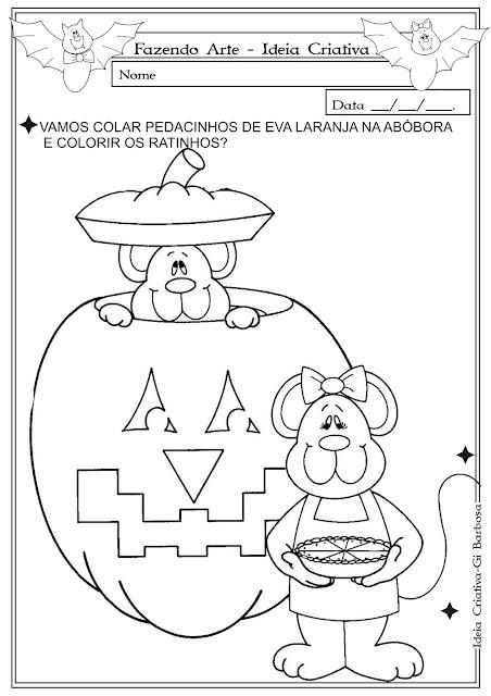 Fazendo Arte Ideia Criativa Temática- Halloween Colagem com Abobora ratinhos
