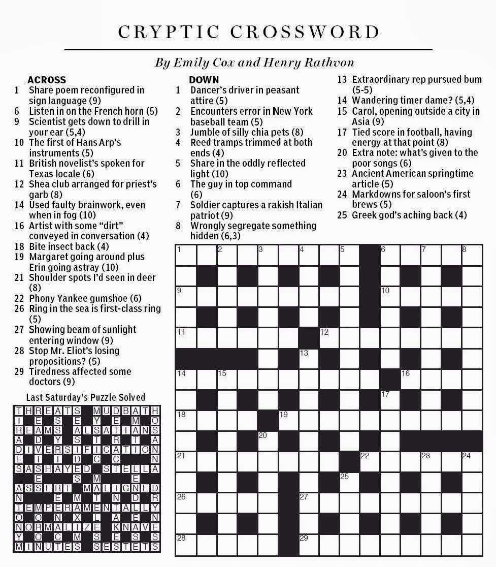 National Post Cryptic Crossword Forum Saturday March 1 2014 Wandering As If In A Haze