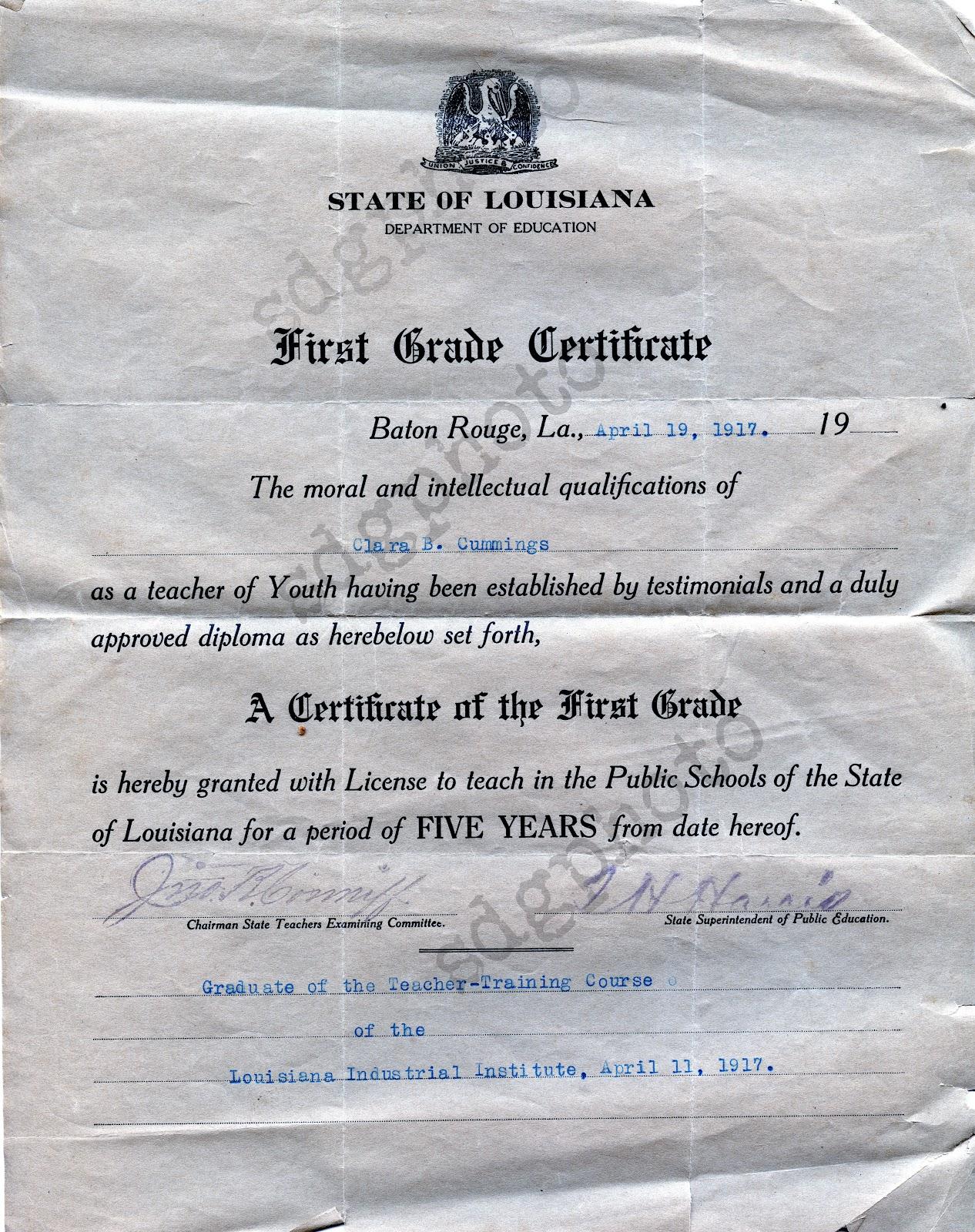 a 1917 louisiana teacher application and teacher certificate