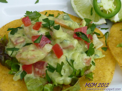 Tostadas Topped w/ Avocado Dressed Shrimp | Ms. enPlace
