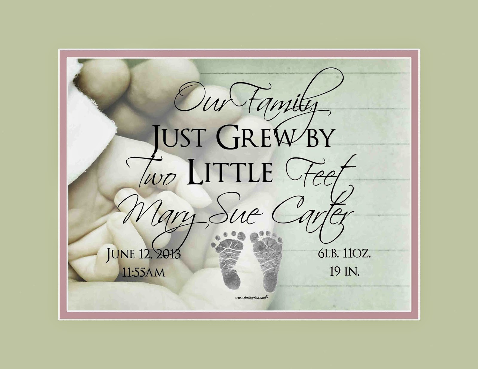 """Our Family Just Grew"" Print at LindseyBoo.com"