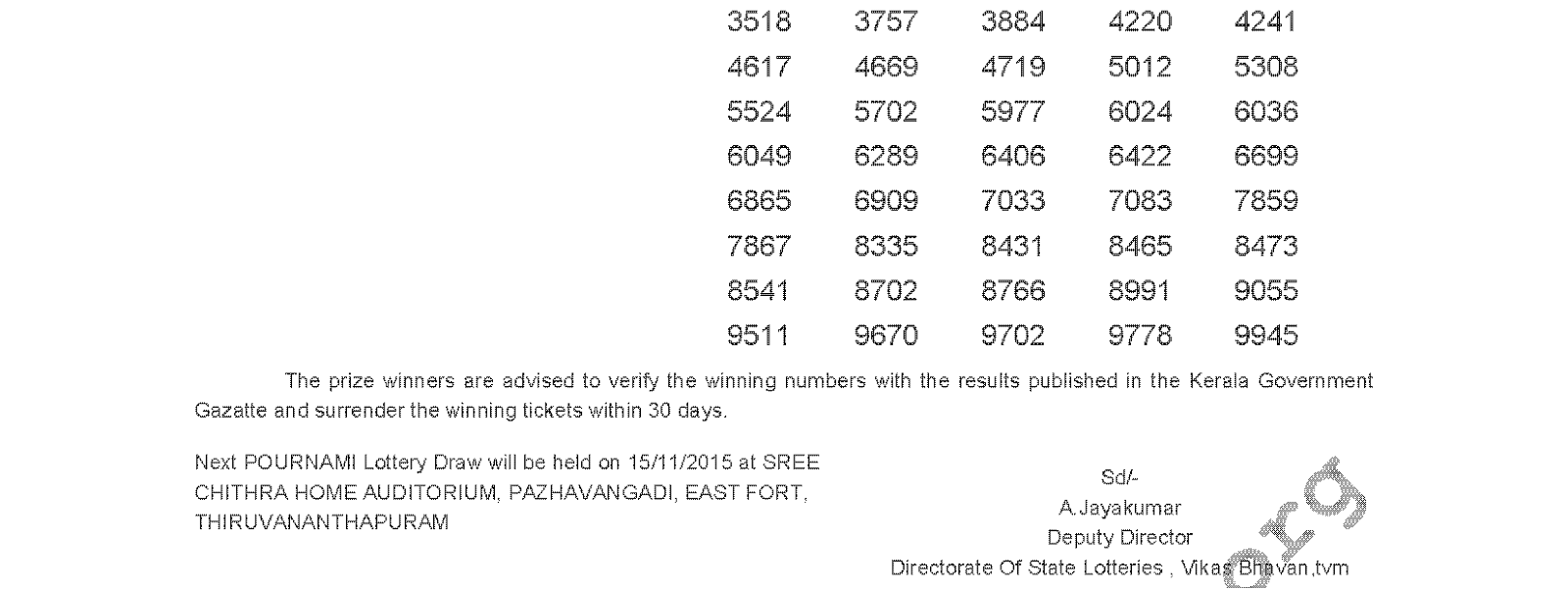 Pournami Lottery RN 210 Result 8-11-2015