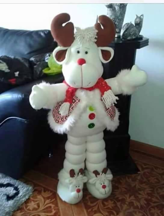 Rena com moldes feltro moldes artesanato em geral - Manualidades munecos de navidad ...