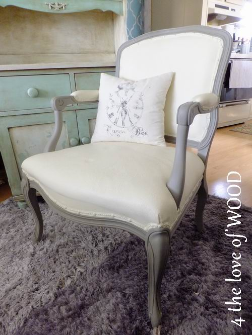 PAINTING UPHOLSTERY   Grey And White French Chair