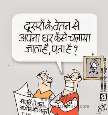7th pay commission, common man cartoon, manmohan singh cartoon, election 2014 cartoons, election cartoon, congress cartoon, indian political cartoon