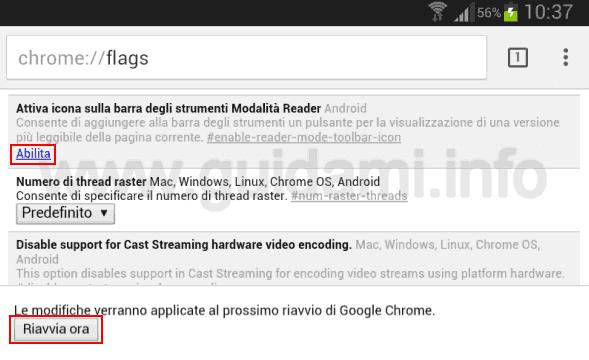 Abilitare Modalità Reader Chrome per Android