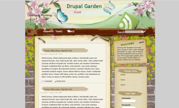 Garden Floral Brown Drupal Theme Template