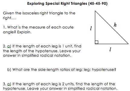 Worksheets Special Right Triangle Worksheet the secondary classroom can be fun too discovering special right triangles