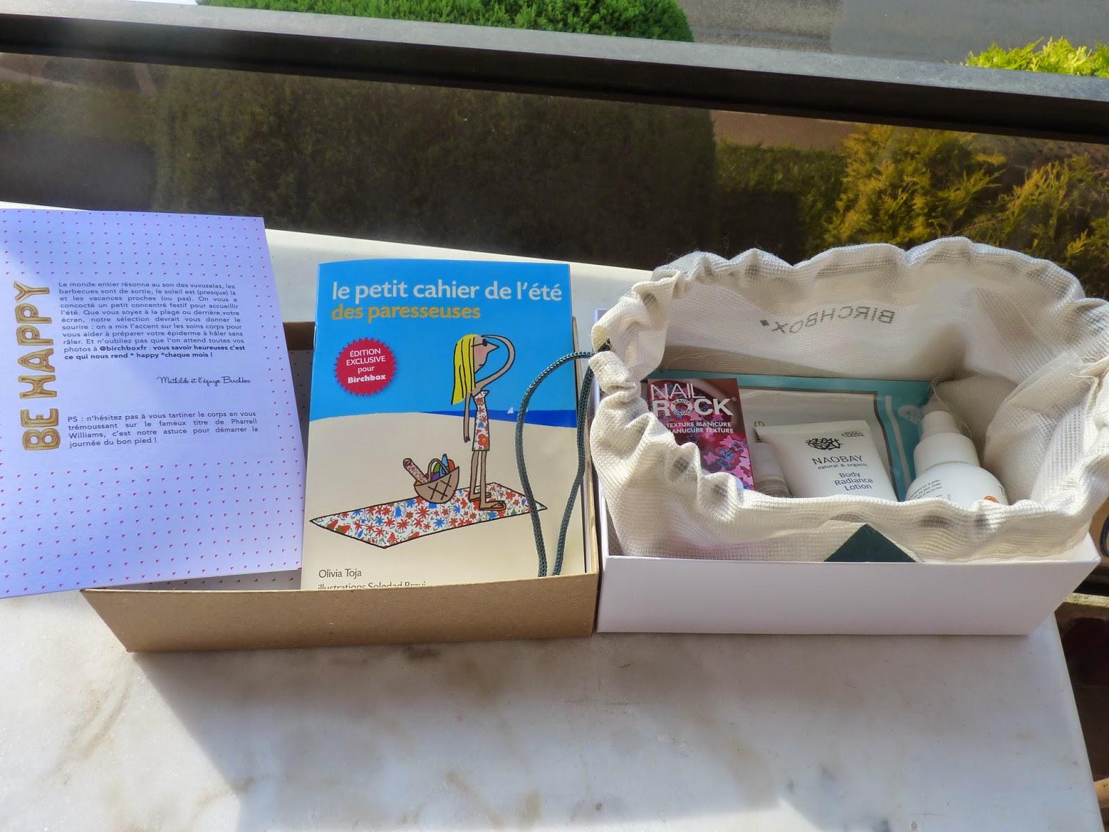 birchbox, juin 2014, les paresseuses, cahier, solaire, melvita, huile sèche, vernis, nail rock, nail art,