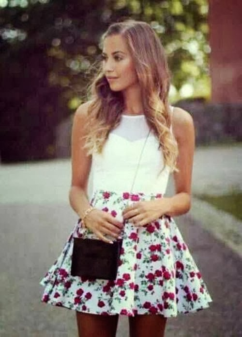 Stylish Flower Patterned Mini Skirt with Charming White Blouse