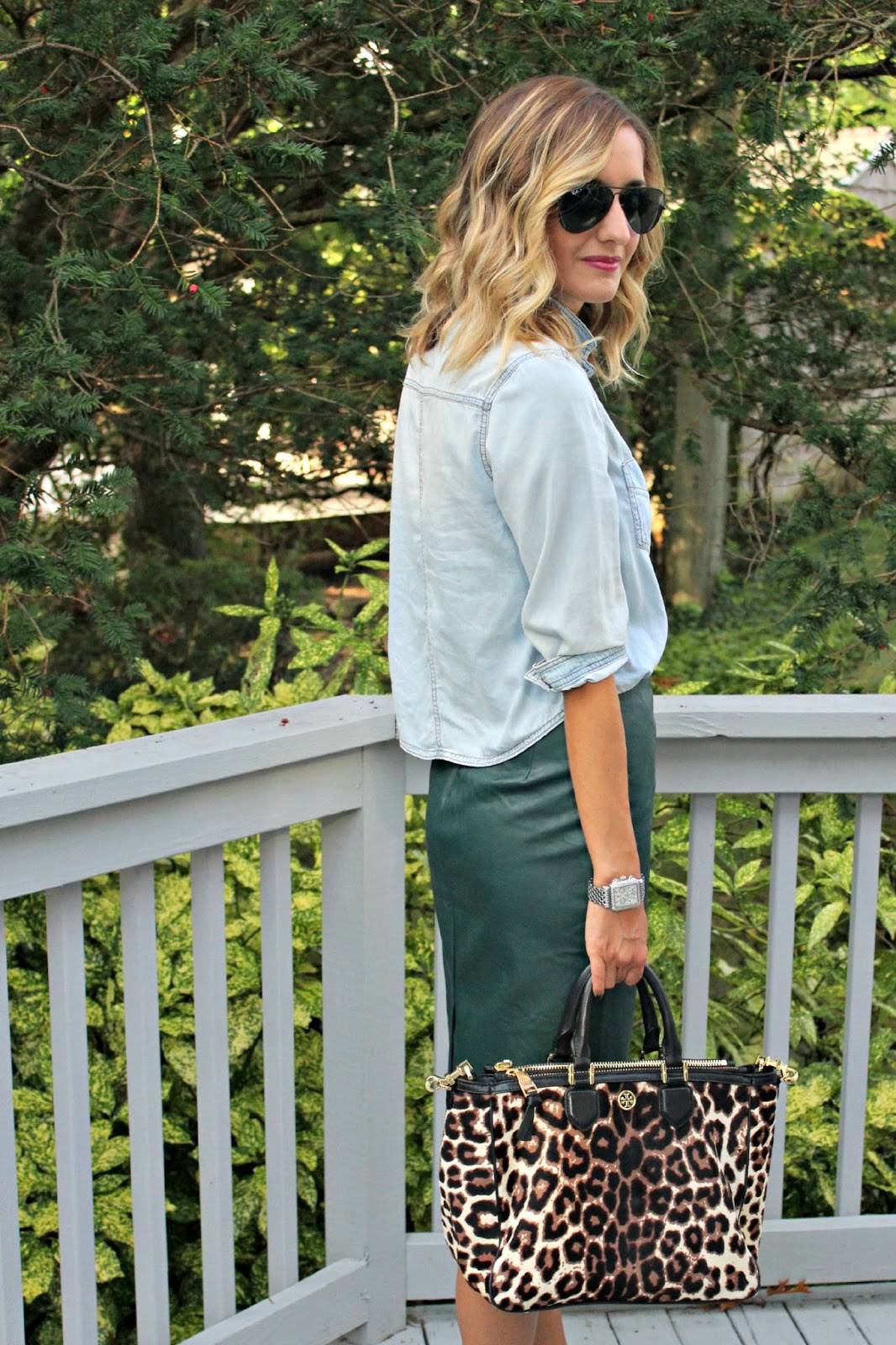 cropped chambray top