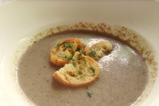 Field Mushroom Soup with truffled croutons