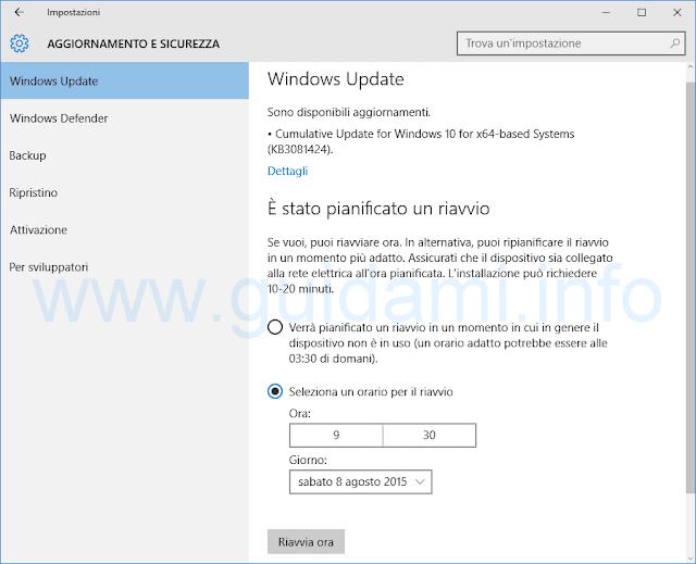 E' stato pianificato un riavvio Windows 10