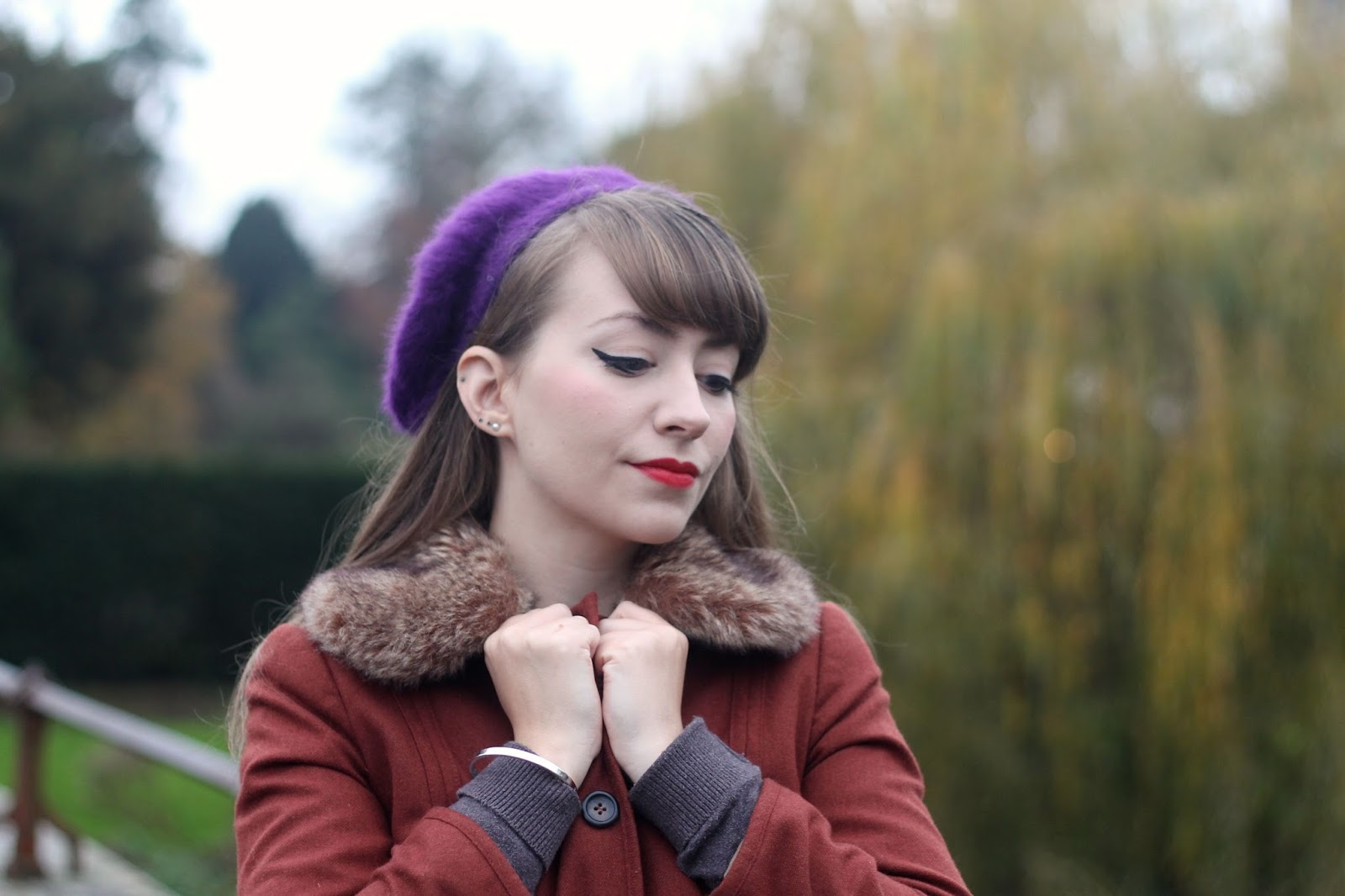 Purple fluffy beret with vintage inspired jacket