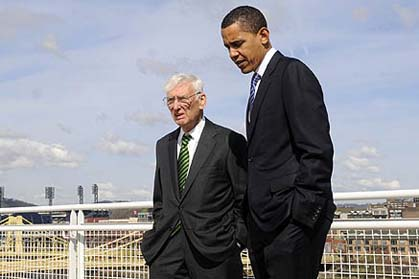 Former US Ambassador Dan Rooney and President Barack Obama