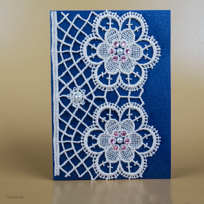 gunadesign guna andersone Vintage stile greeting card with lace
