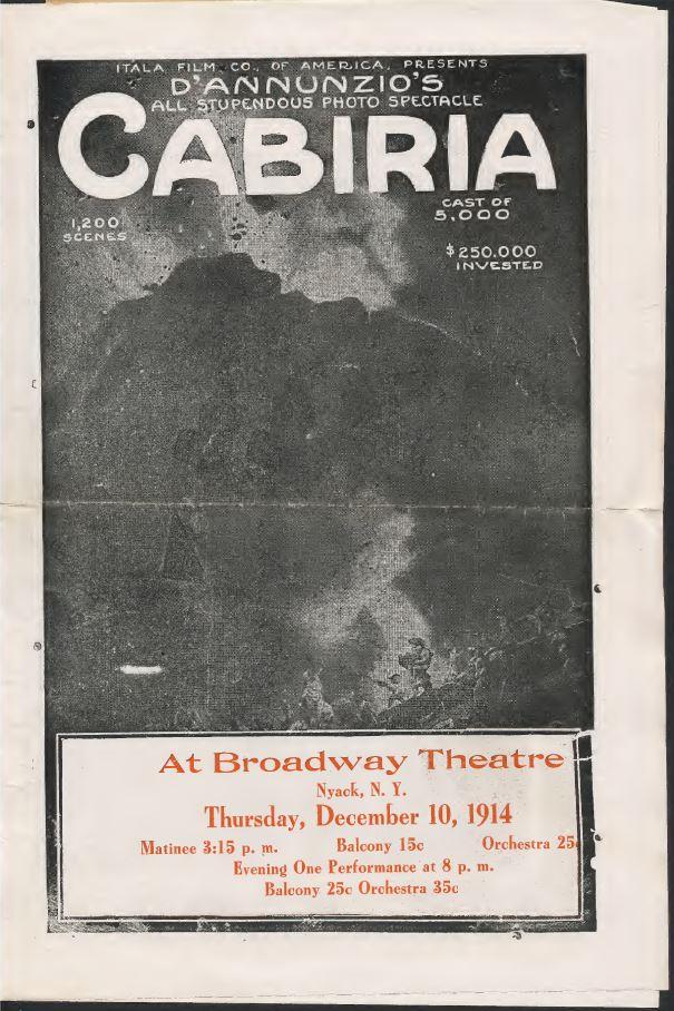Imagen con un anuncio de la película de G. Pastrone: Cabiria
