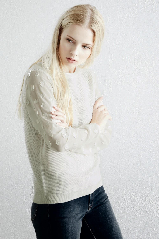 warehouse cream jumper, cream flower top,