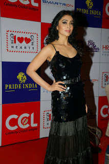 Actress Shriya Saran Latest Picture in Black Long Dress at CCL Charity Dinner 20